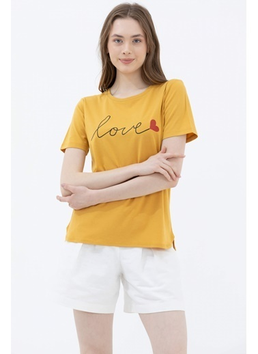 Sementa Sıfır Yaka Baskılı Tshirt - Hardal Hardal